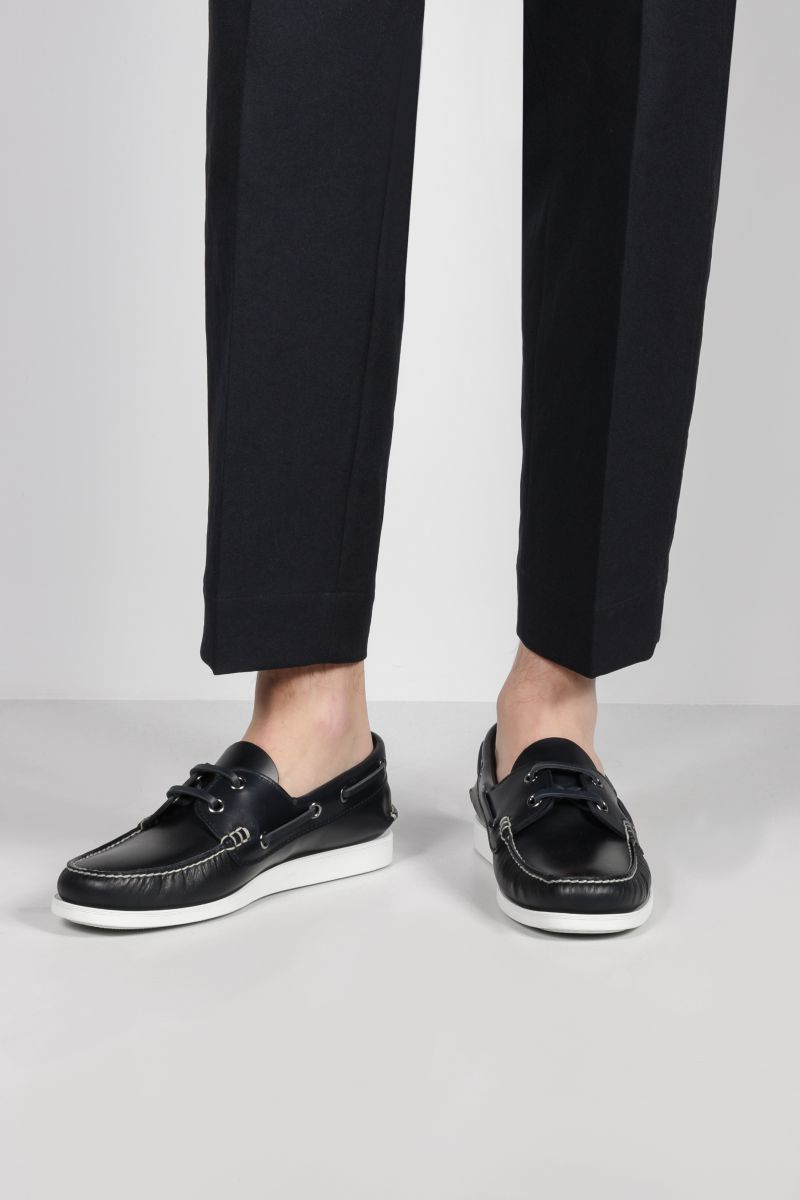 CHURCH'S: Marske smooth leather boat shoes Color Blue_2