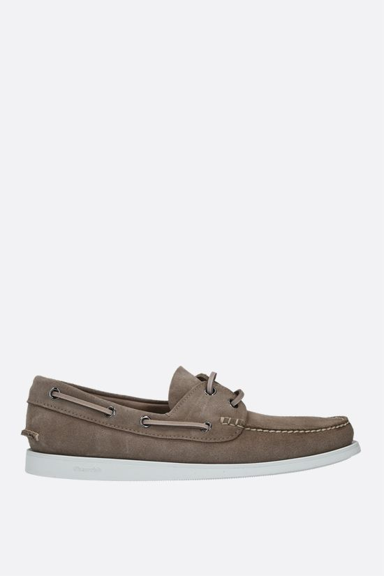 CHURCH'S: Marske suede boat shoes Color Grey_1