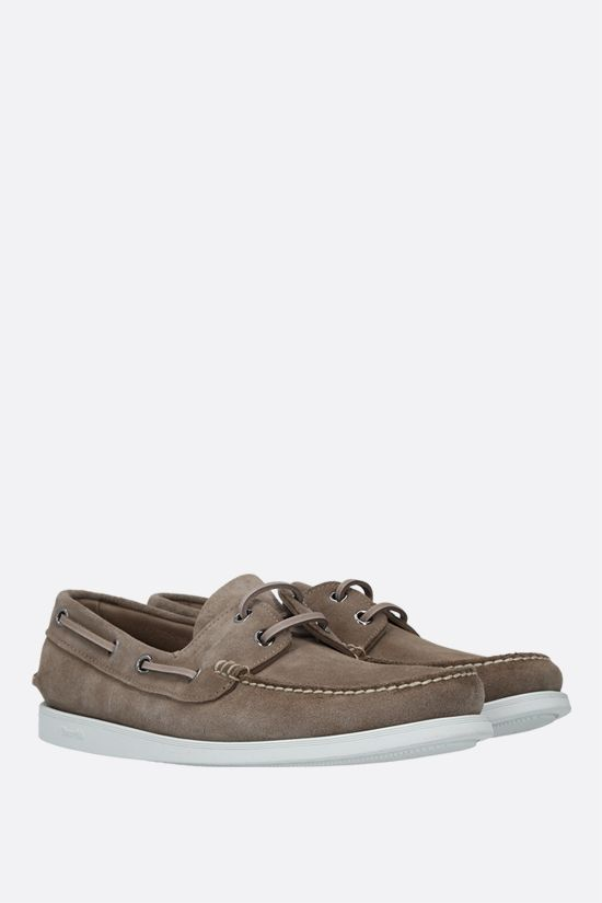 CHURCH'S: Marske suede boat shoes Color Grey_2