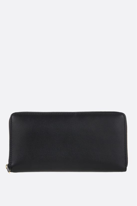 COMME des GARCONS WALLET: smooth leather zip-around wallet Color Black_1