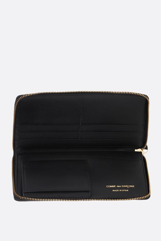 COMME des GARCONS WALLET: smooth leather zip-around wallet Color Black_2