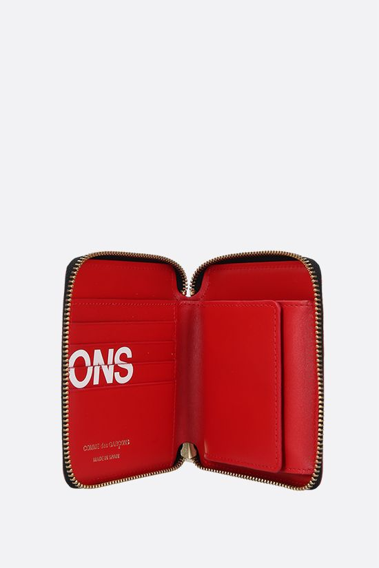 COMME des GARCONS WALLET: logo print smooth leather small zip-around wallet Color Red_2