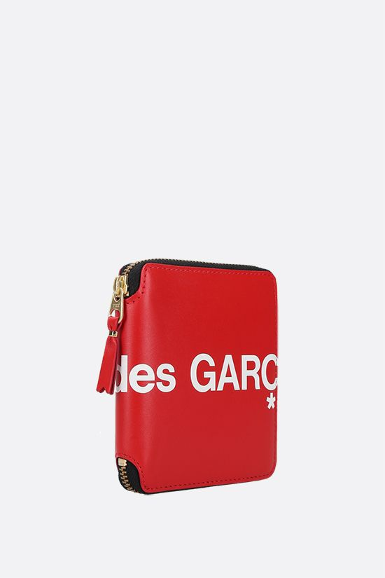 COMME des GARCONS WALLET: logo print smooth leather small zip-around wallet Color Red_3