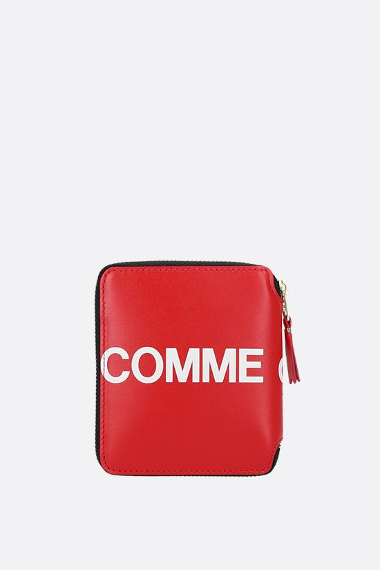 COMME des GARCONS WALLET: logo print smooth leather small zip-around wallet Color Red_4