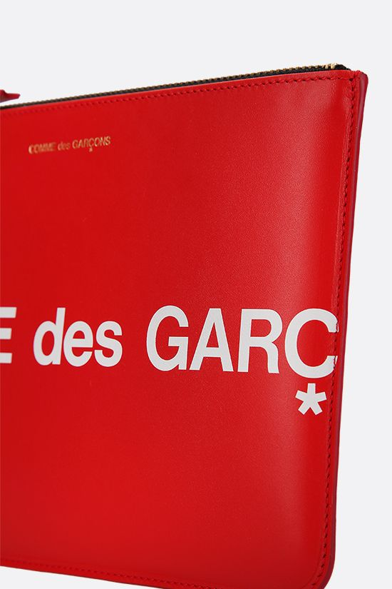 COMME des GARCONS WALLET: logo print smooth leather large pouch Color Red_4