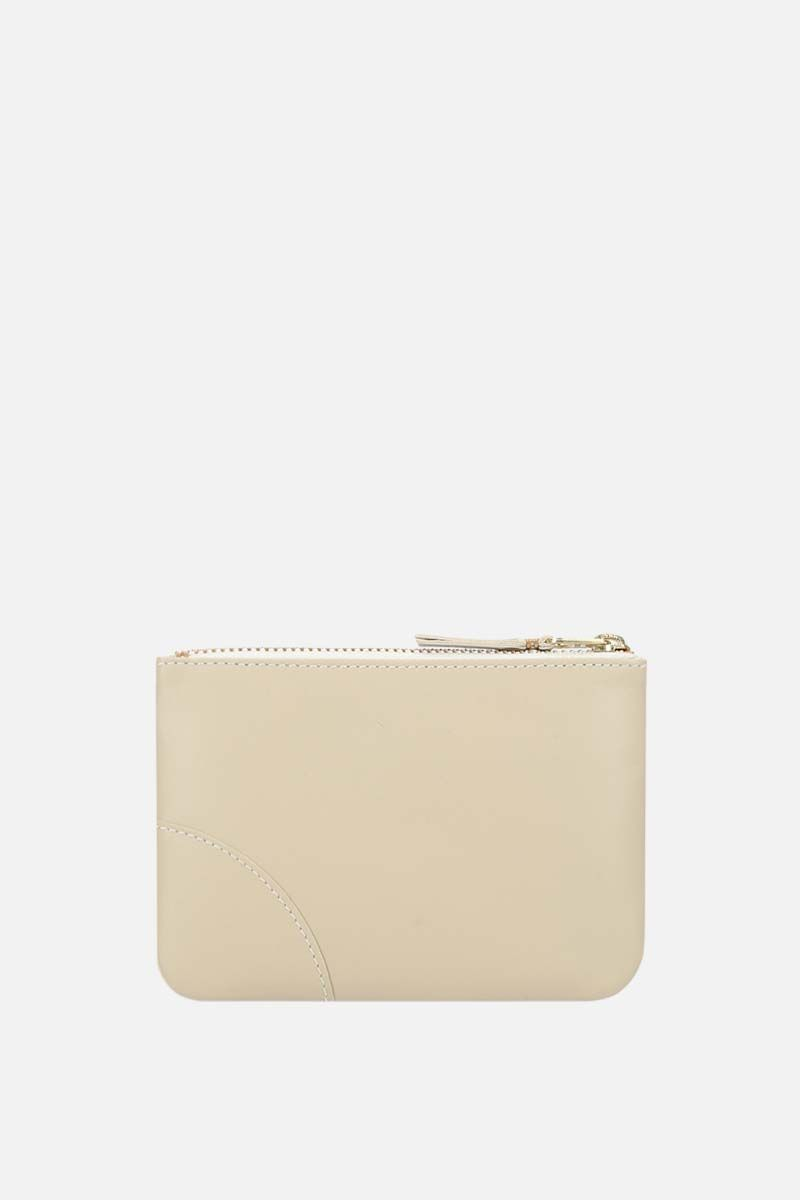 COMME des GARCONS WALLET: busta small in pelle liscia Colore White_3