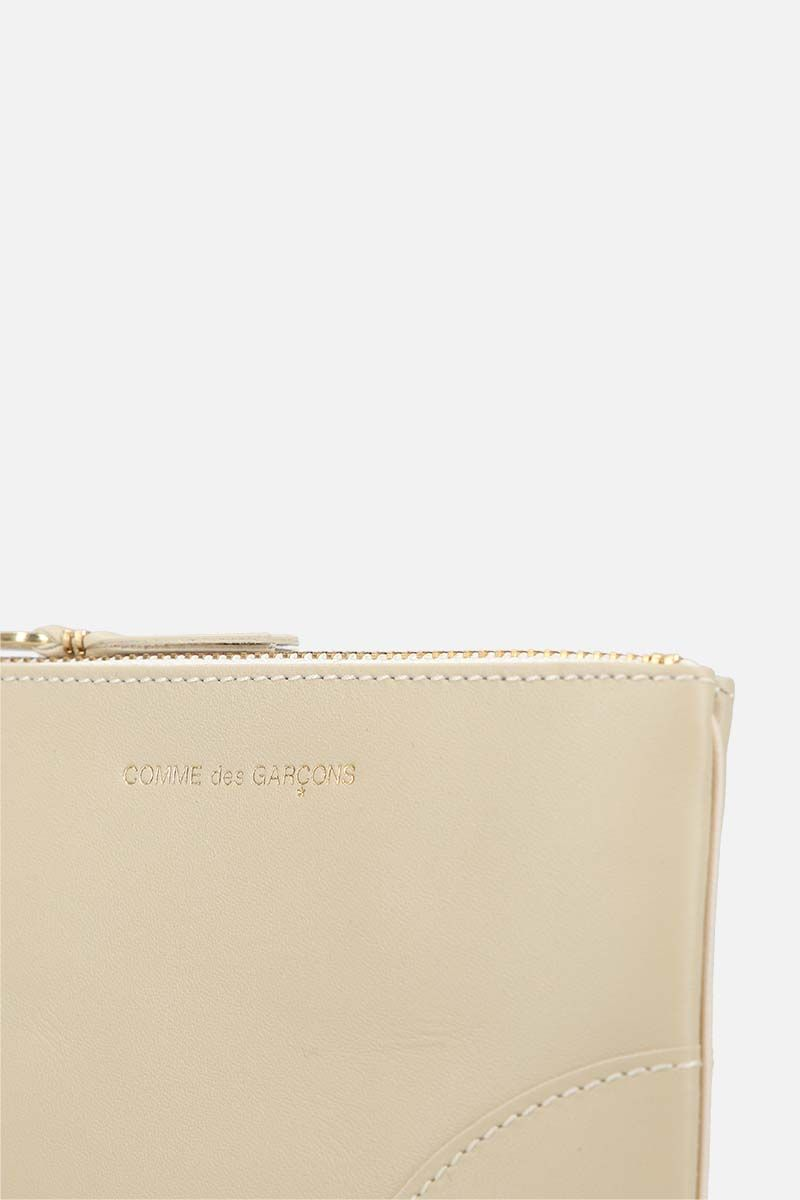 COMME des GARCONS WALLET: busta small in pelle liscia Colore White_4