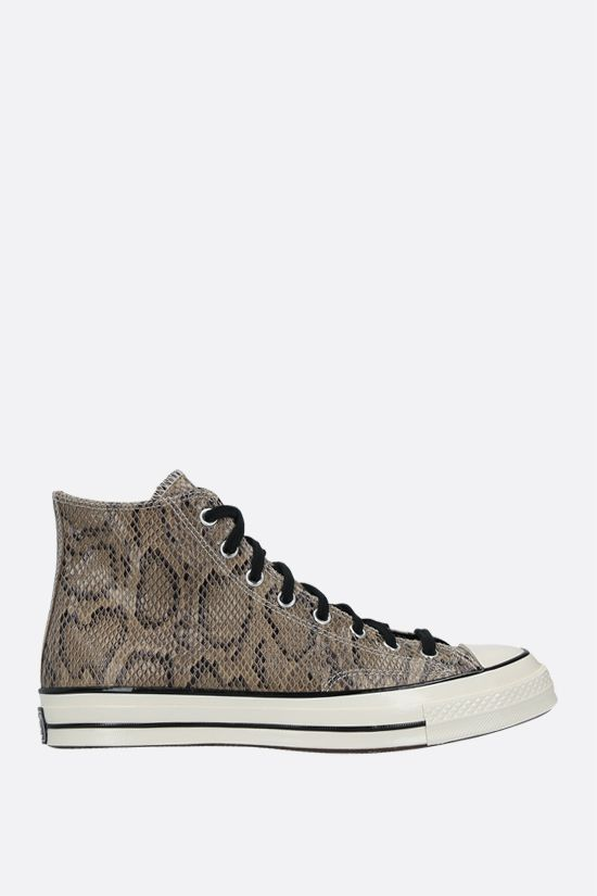 CONVERSE: Chuck 70 python-embossed leather high-top sneakers Color Brown_1