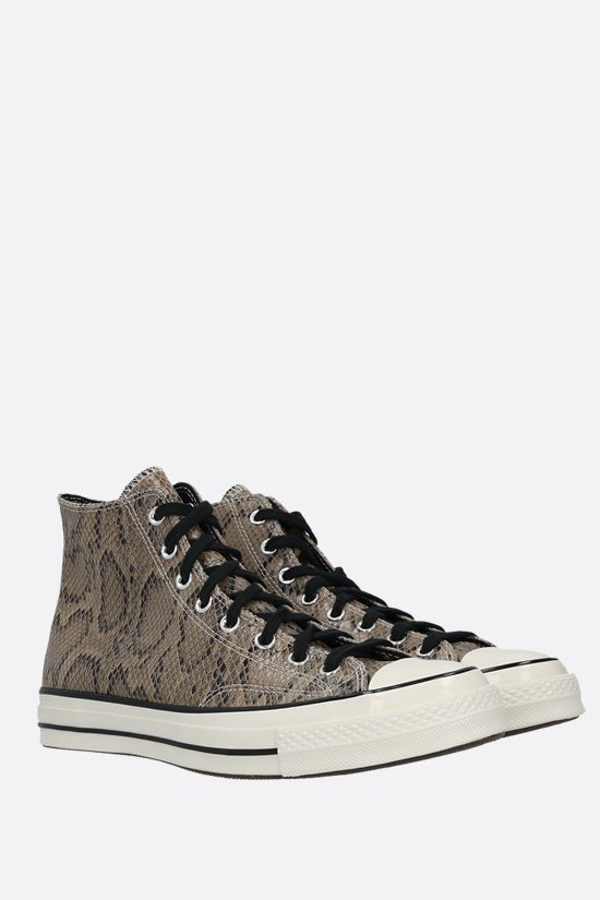 CONVERSE: sneaker high-top Chuck 70 in pelle stampa pitone Colore Marrone_2