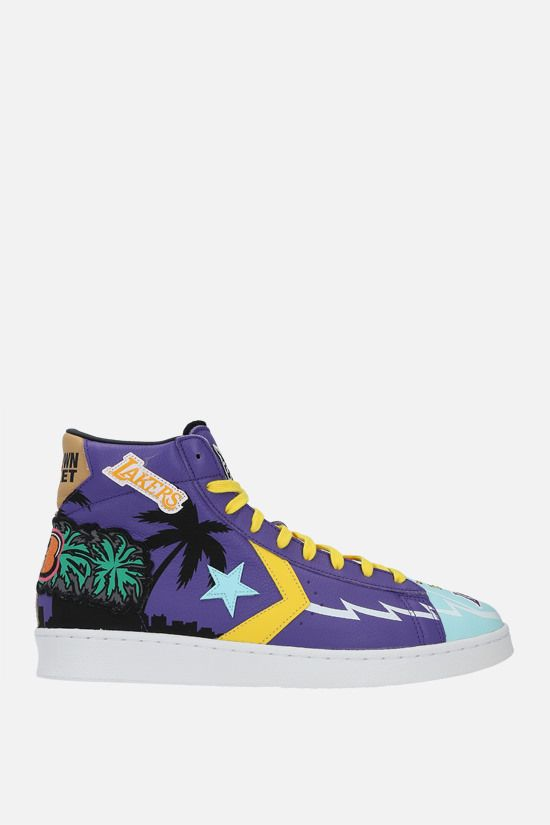 CONVERSE: sneaker high-top Lakers Championship Jacket in pelle martellata_1