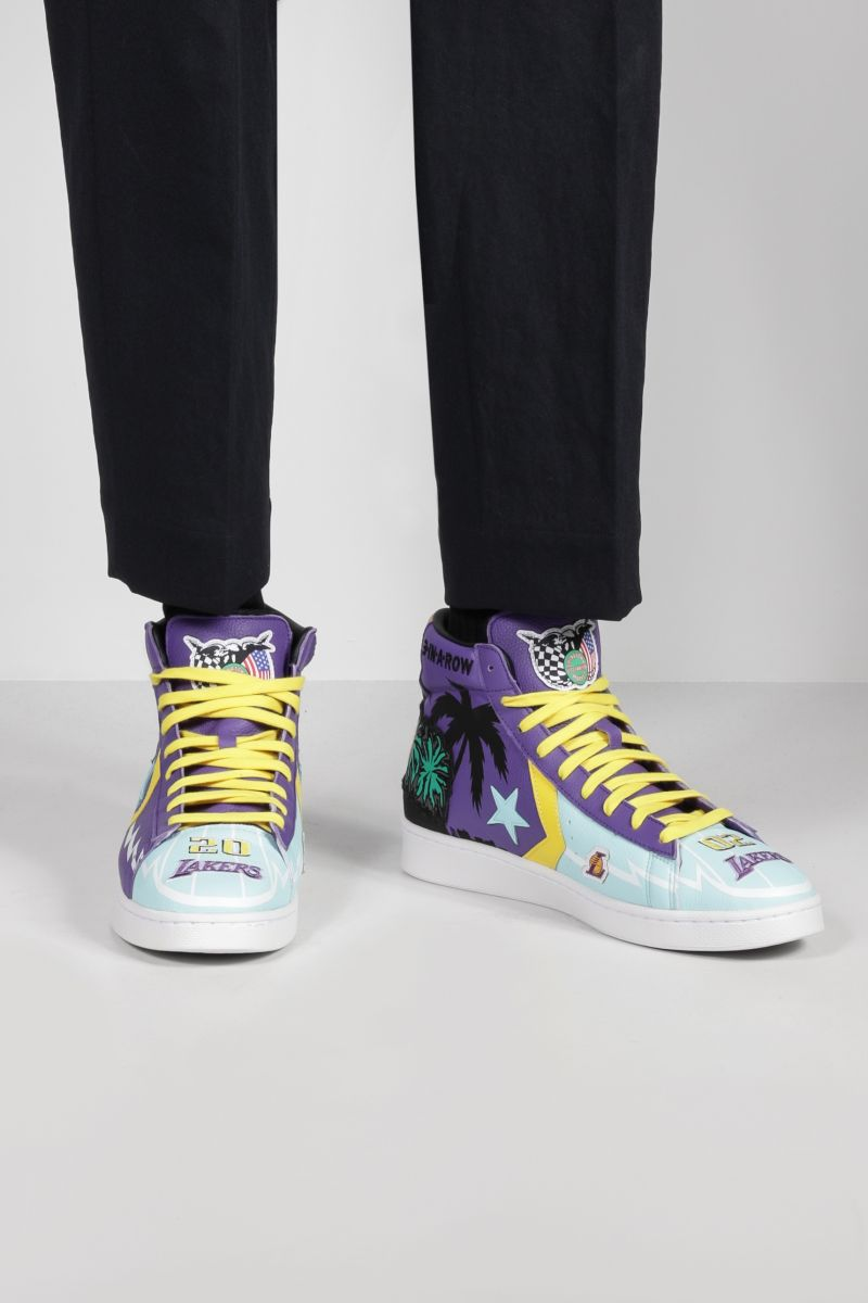 CONVERSE: sneaker high-top Lakers Championship Jacket in pelle martellata_2