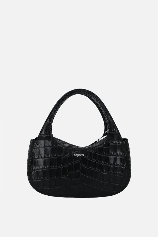 COPERNI: Baguette Swipe micro crocodile-embossed leather handbag Color Black_1