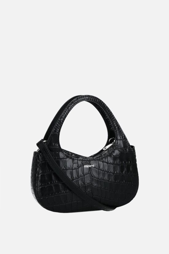 COPERNI: Baguette Swipe micro crocodile-embossed leather handbag Color Black_2