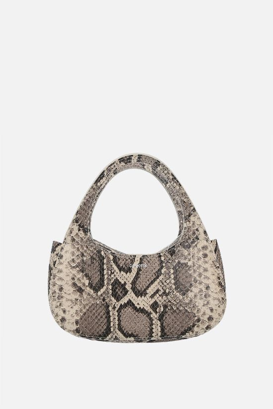 COPERNI: Baguette Swipe micro python-embossed leather handbag Color Animalier_1