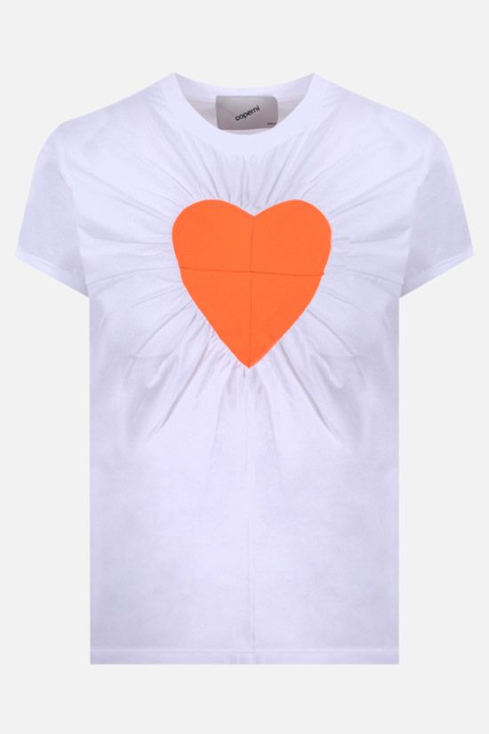COPERNI: Heart Patchwork cotton t-shirt Color White_1