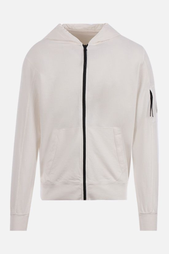 CP COMPANY: logo-detailed full-zip cotton hoodie Color White_1
