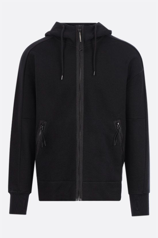 CP COMPANY: Goggle cotton full-zip hoodie Color Black_1