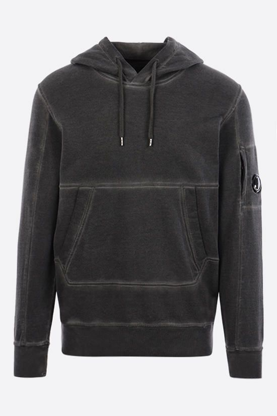 CP COMPANY: garment dyed cotton hoodie Color Black_1