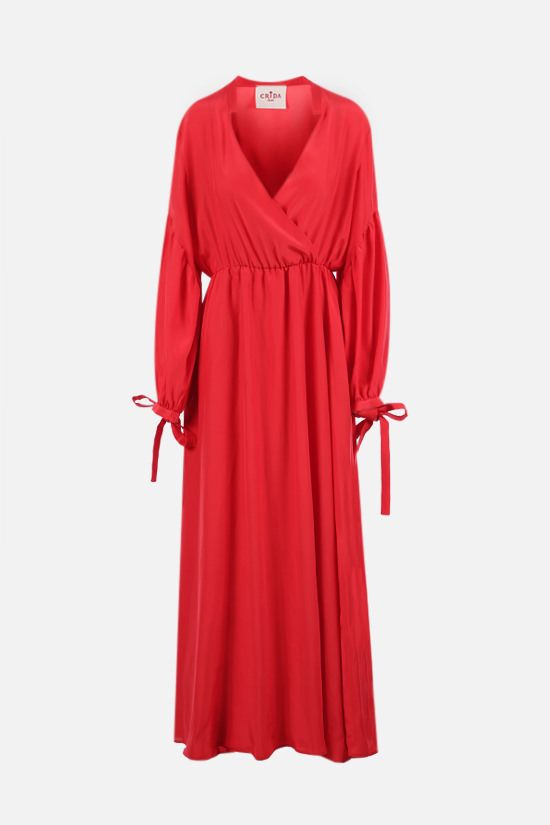 CRIDA: Matera satin wrap dress Color Red_1