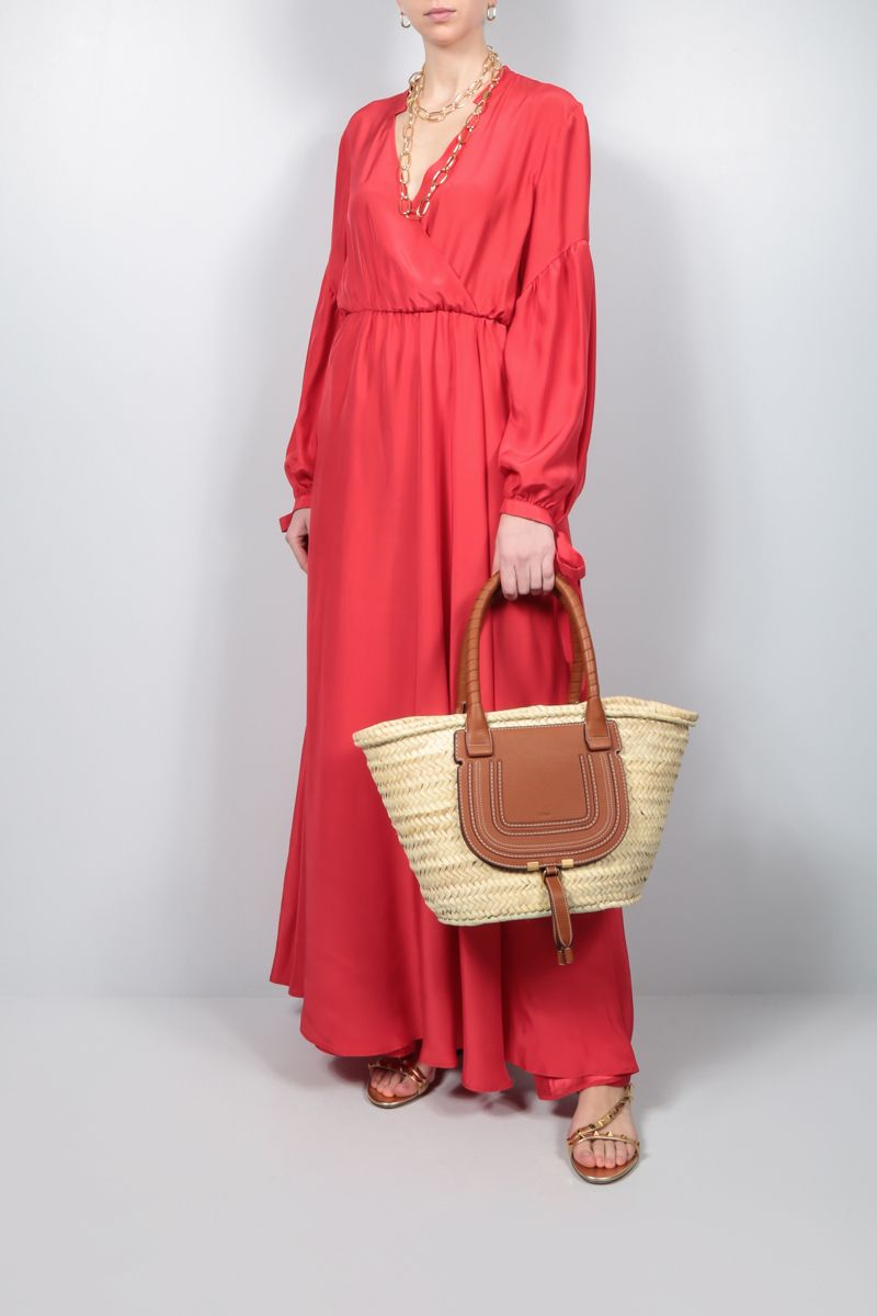 CRIDA: Matera satin wrap dress Color Red_2
