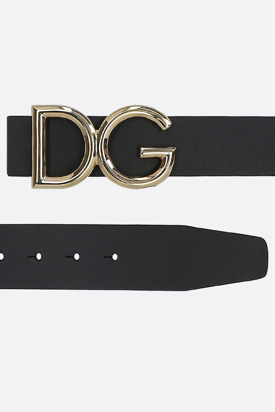 DOLCE & GABBANA: DG buckle-detailed shiny leather belt Color Black_2