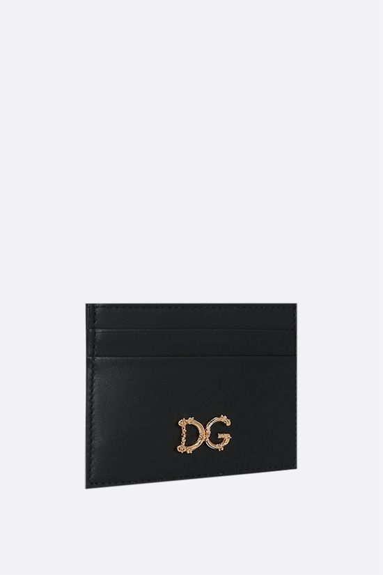 DOLCE & GABBANA: DG-detailed smooth leather card case Color Black_2