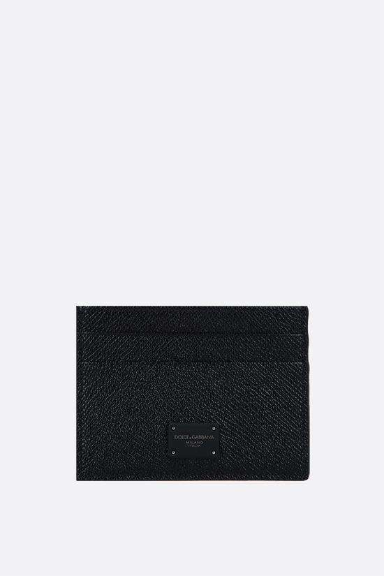 DOLCE & GABBANA: Dauphine leather card case Color Black_1