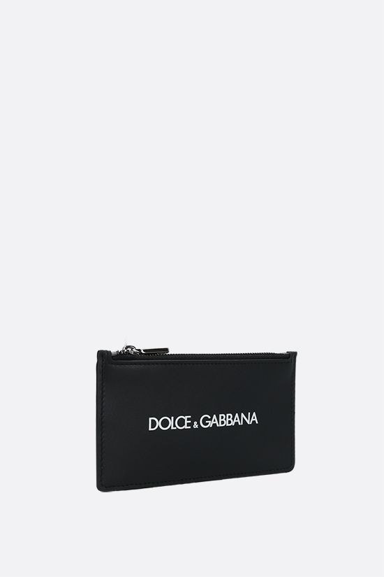 DOLCE & GABBANA: logo print smooth leather card case Color Black_2