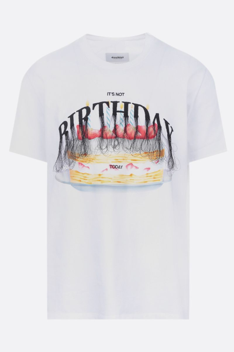 DOUBLET: t-shirt in cotone ricamo It's Not Birthday Today Colore White_1