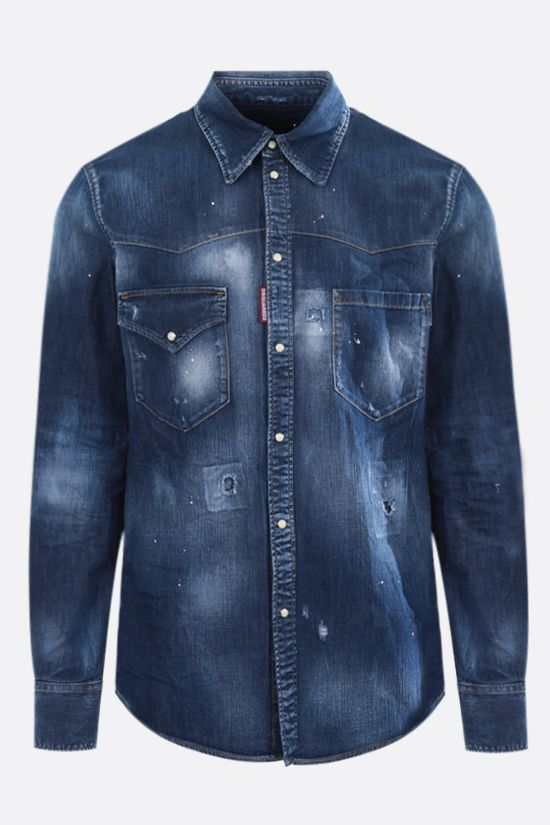 DSQUARED2: stretch denim western shirt Color Blue_1