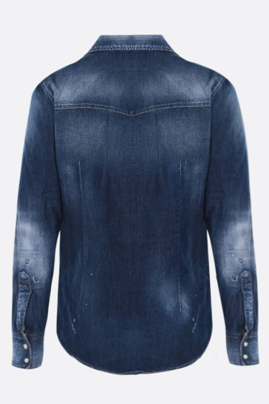 DSQUARED2: camicia western in denim stretch Colore Blu_2