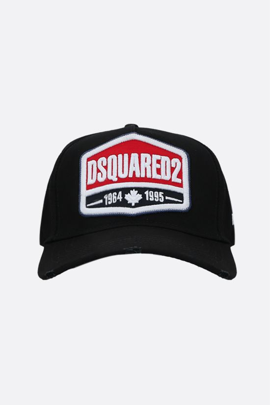 DSQUARED2: logo patch cotton baseball cap Color Black_1