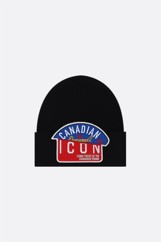 DSQUARED2: Canadian Icon wool beanie Color Black_1