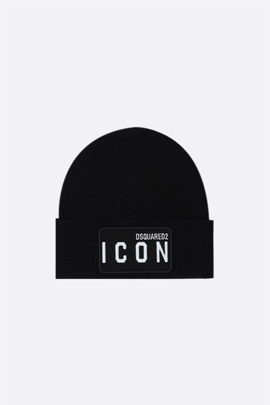 DSQUARED2: Icon Dsquared2 wool beanie Color Black_1