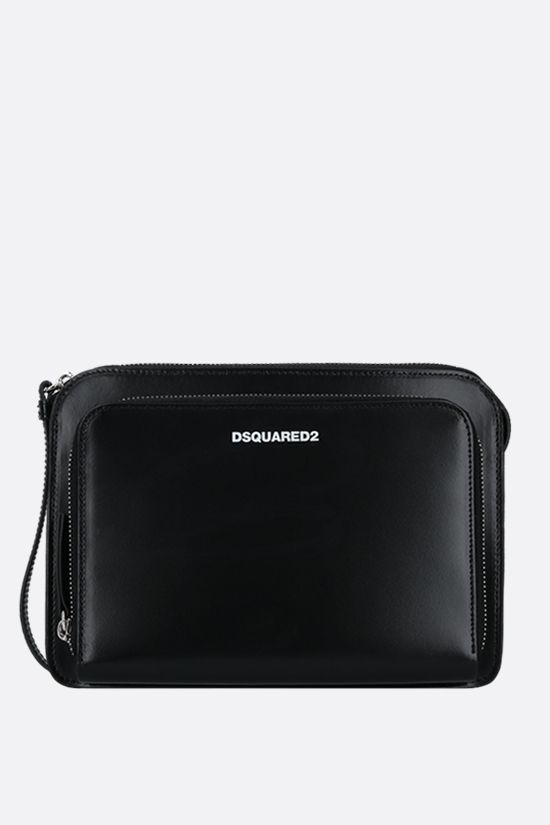 DSQUARED2: logo-detailed smooth leather clutch Color Black_1