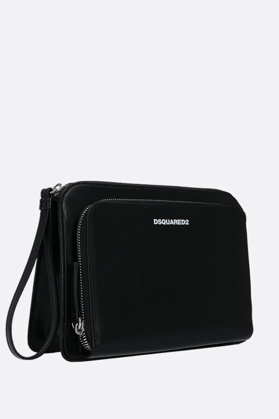 DSQUARED2: logo-detailed smooth leather clutch Color Black_2