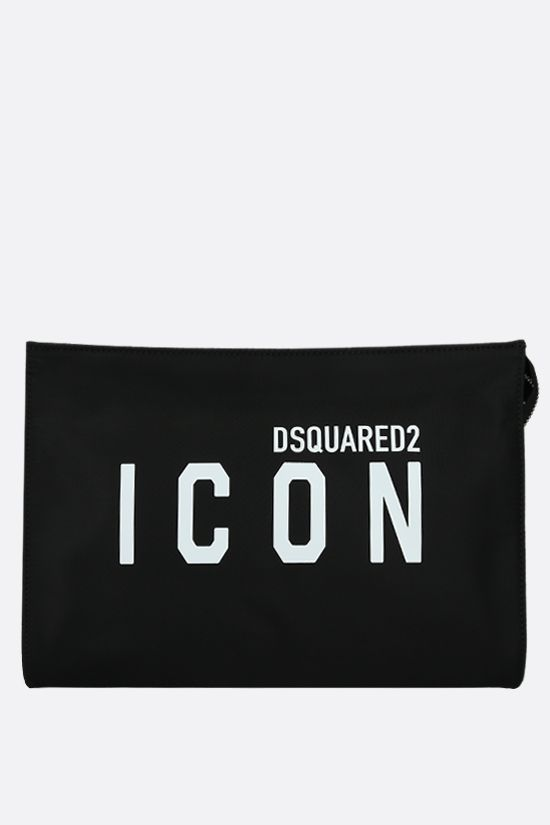 DSQUARED2: Icon Dsquared2 nylon clutch Color Black_1