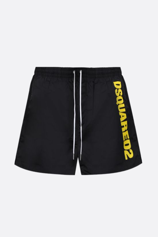 DSQUARED2: logo print nylon swim shorts Color Black_1