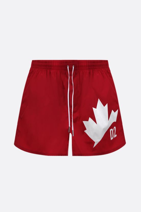 DSQUARED2: Canadian Leaf print nylon swim shorts Color Red_1