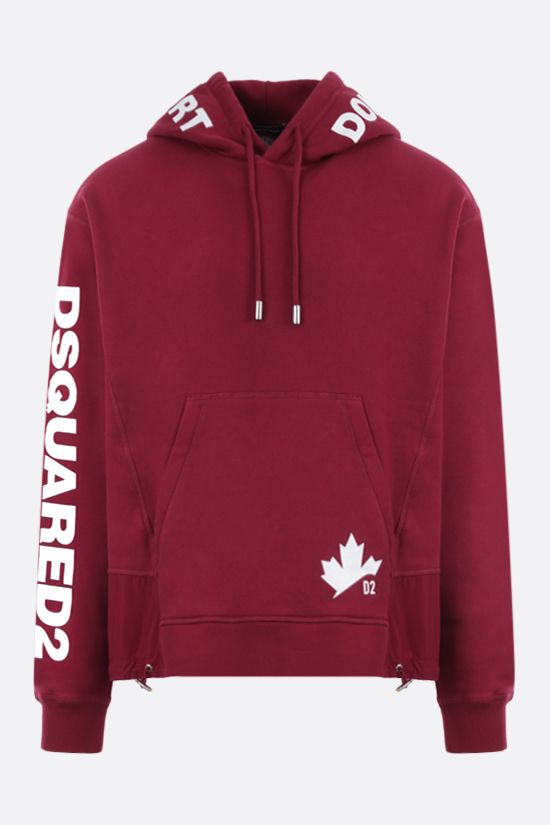 DSQUARED2: logo print cotton hoodie Color Red_1