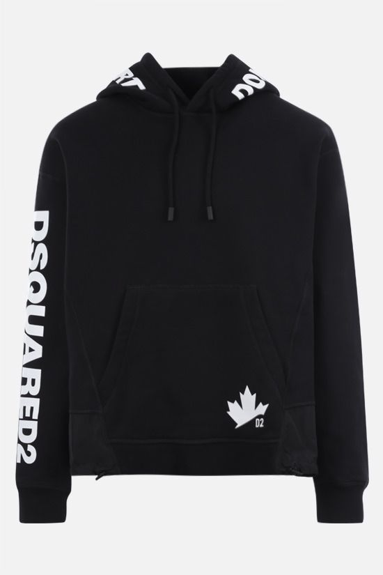 DSQUARED2: logo print cotton hoodie Color Black_1