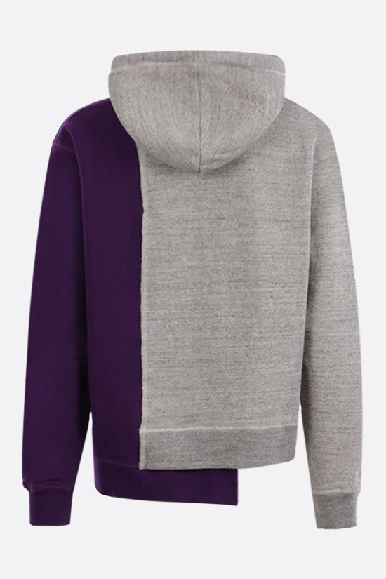 DSQUARED2: asymmetric bicolor cotton hoodie Color Silver_2