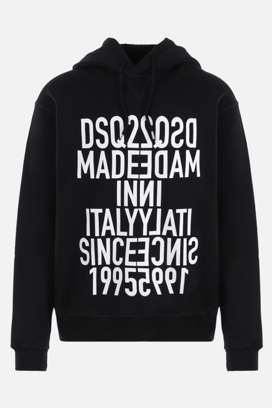 DSQUARED2: DSQ2 print cotton hoodie Color Black_1
