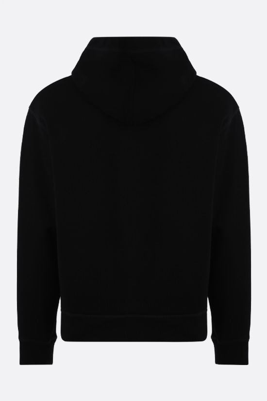 DSQUARED2: Canadian Leaf print scuba fabric hoodie Color Black_2