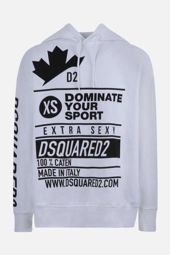 DSQUARED2: oversize text printed cotton hoodie Color White_1