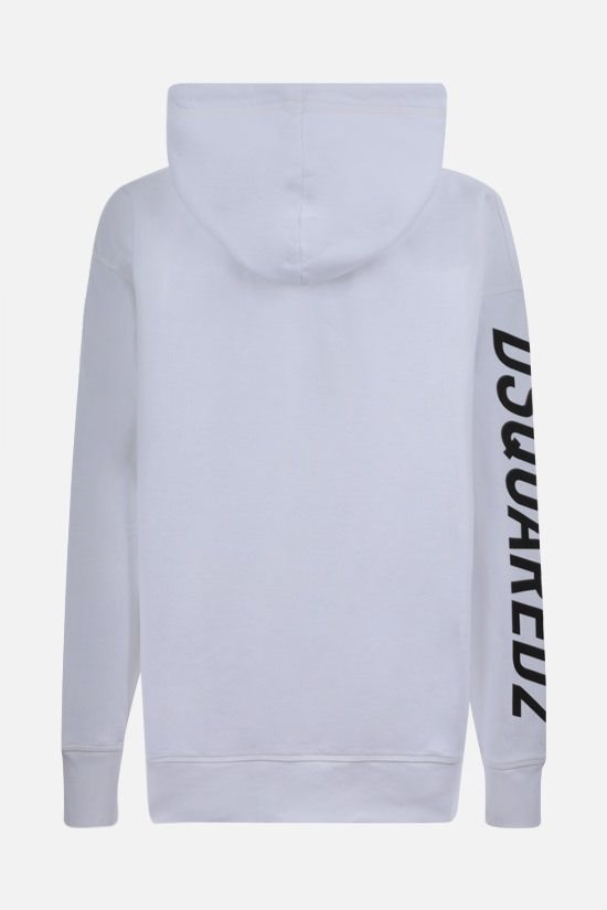 DSQUARED2: oversize text printed cotton hoodie Color White_2