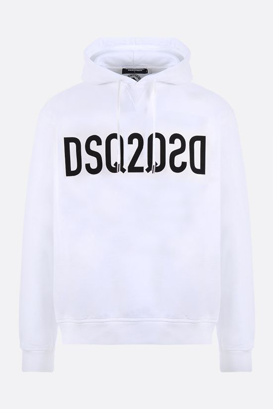 DSQUARED2: Mirrored DSQ2 print cotton hoodie Color White_1