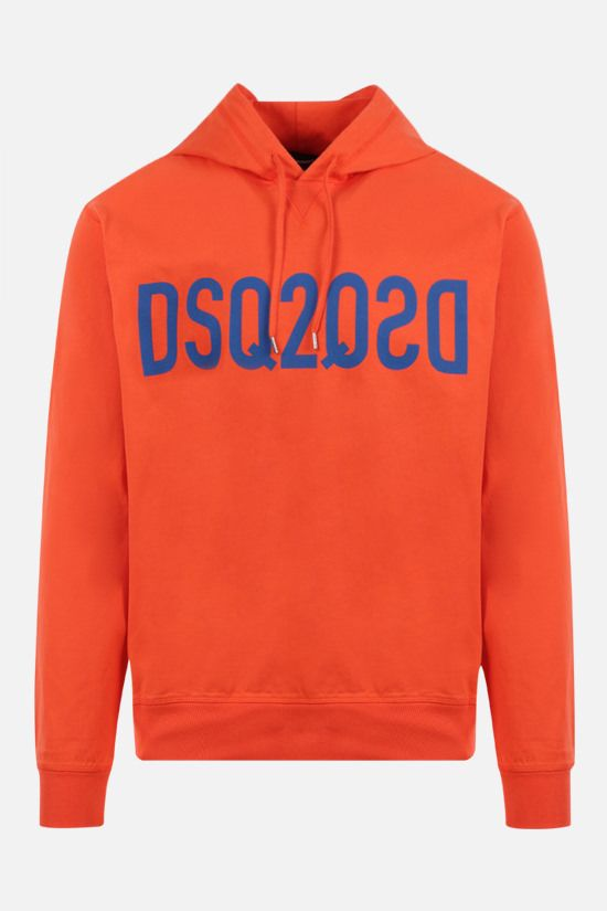 DSQUARED2: Mirrored DSQ2 print cotton hoodie Color Orange_1