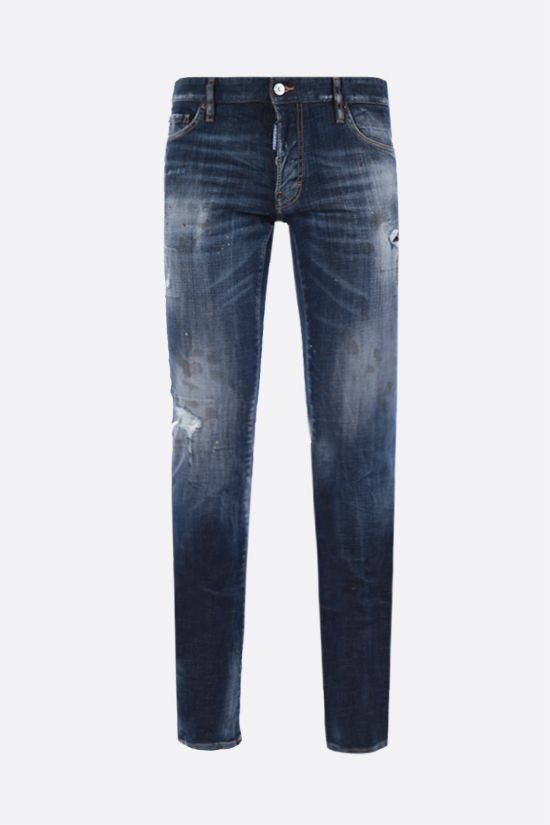 DSQUARED2: Bros patch slim-fit jeans Color Blue_1
