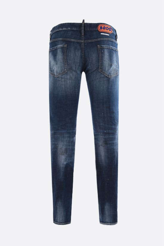 DSQUARED2: Bros patch slim-fit jeans Color Blue_2
